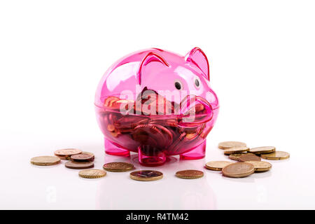 pink piggy bank isolated on white background - Stock Photo
