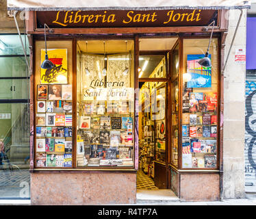 Barcelona, Spain - 4th October 2017: Bookshop on La Rambla. The street is  very famous pedestrianised shopping area. - Stock Photo