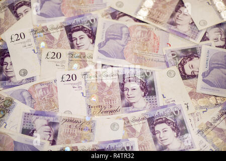 20 pound sterling notes, background image, England - Stock Photo