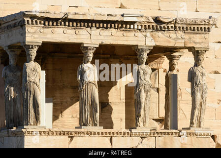 Athens. Greece. The Caryatid Porch of the Erechtheion (Erechtheum) ancient Greek temple on the north side of the Acropolis was dedicated to Athena and - Stock Photo