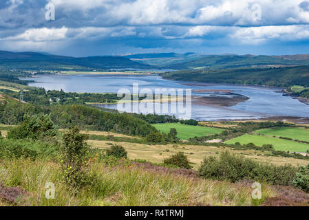 View from viewpoint Struie Hill to the estuary Dornoch Firth, Sutherland, Scotland, Great Britain - Stock Photo