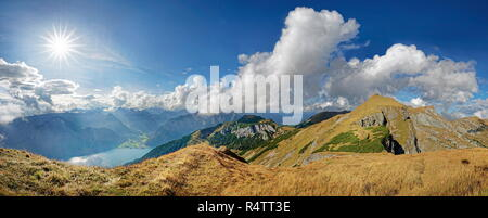 Panorama at the ridge of the Dalfazer Wände with Achensee and Karwendel Mountains, Rofan Mountains, behind Pertisau, Tyrol - Stock Photo