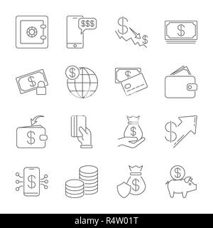 Simple icon set related to Money. A set of sixteen symbols. Thin line vector icon set - dollar coin vector, credit card, wallet, cash, money bag, piggy bank, investment, shield - Stock Photo