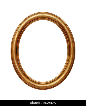 Vintage golden oval round picture frame - Stock Photo