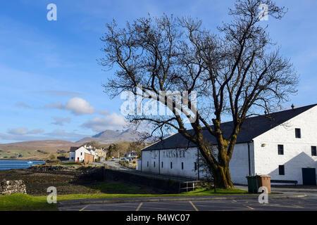 Talisker Distillery at Carbost on Loch Harport, Isle of Skye, Highland Region, Scotland, UK