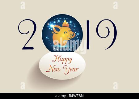 Chinese 2019 Happy New Year of a yellow pig, vector golden glitter pig silhouette  on black background for calendar page or greeting card typography p - Stock Photo