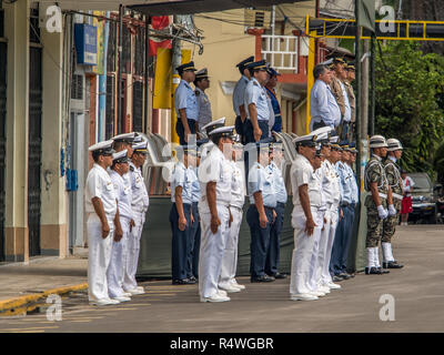 Iquitos, Peru - May 15, 2015: Sunday morning with Peruvian army on the Plaza de Armas (Main square) in Iquitos. - Stock Photo