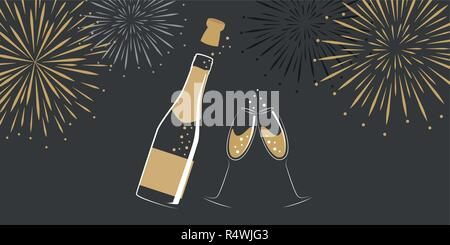 champagne bottle and glasses with new year fireworks vector illustration EPS10 - Stock Photo