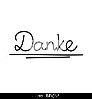 Danke german text translation Thank You calligraphy hand drawn lettering vector illustration - Stock Photo