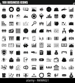 100 business icon set. Simple set of 100 business vector icons for web design isolated on white background - Stock Photo