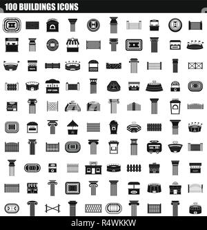 100 buildings icon set. Simple set of 100 buildings vector icons for web design isolated on white background - Stock Photo