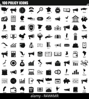 100 policy icon set. Simple set of 100 policy vector icons for web design isolated on white background - Stock Photo