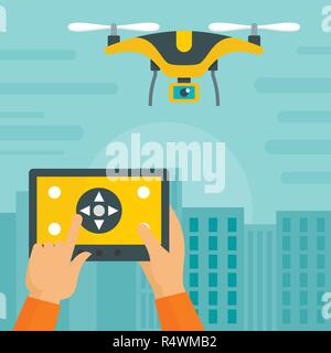 Control drone on pad background. Flat illustration of control drone on pad vector background for web design - Stock Photo