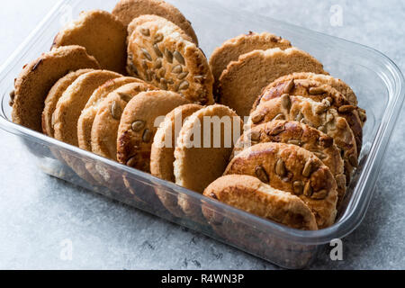 Oatmeal Cookies With Sunflower Seeds In Plastic Container Box