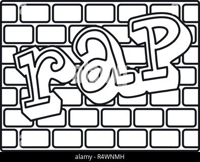 Rap bricks wall icon. Outline rap bricks wall vector icon for web design isolated on white background - Stock Photo