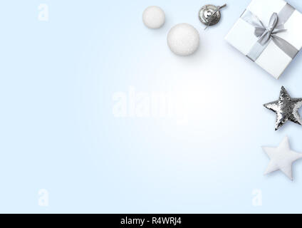 Present, decorative balls and stars on light blue background - Stock Photo