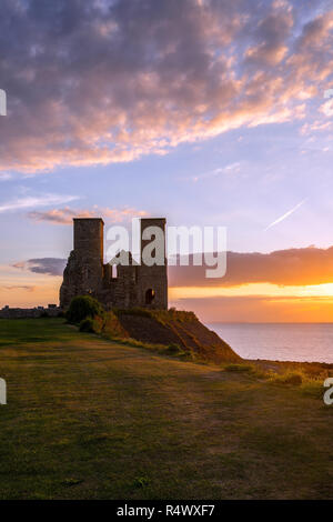 Reculver Towers and Roman Fort Sunset - Stock Photo