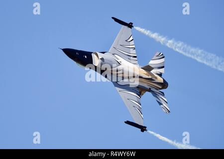 Belgian Air Force F-16 Fighting Falcon performing at the 2018 Royal International Air Tattoo - Stock Photo