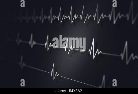 medical background of heart pulsating fast normal and slow - Stock Photo