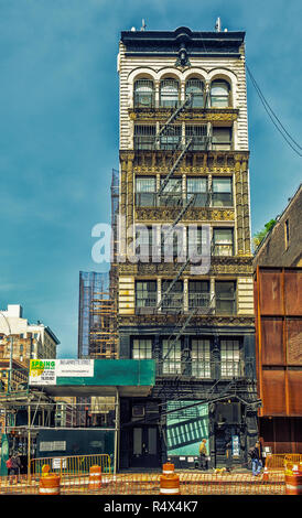 New York City, USA, May 2018, building in Bond street being renovated part of the area gentrification in Manhattan - Stock Photo