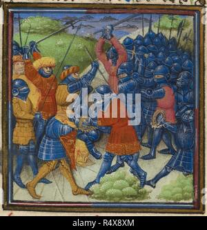 Detail of a miniature of Christians fighting Saracens and a decorated initial 'E'(n) including heraldic arms. A medieval battle scene. Roman de Mélusine. France, N. (Amiens), c.1450. Medieval work Attributed to the quy Master. Source: Harley 4418 f.99. Language: French. - Stock Photo