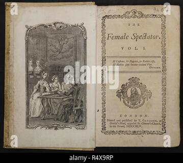 Title Page of The Female Spectator with sketch of four women leaning on a table. . The Female Spectator. 4 vol. London, 1745. The first magazine written by and published for women by Eliza Haywood. It ran for two years from 1744 to 1746. The special title of vol. 1 has the date 1744. Source: 94.c.12. Language: English. - Stock Photo