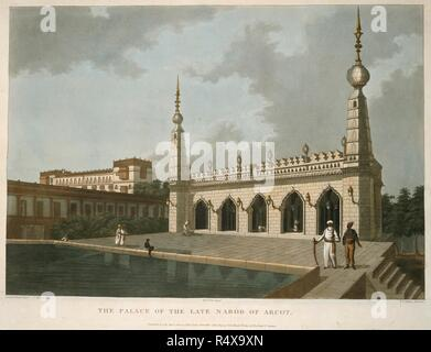The Palace of the Late Narob of Arcot. A brief history of ancient and modern India ... London : Edward Orme, 1805. Source: X 768 plate 1. Author: Blagdon, Francis William. - Stock Photo