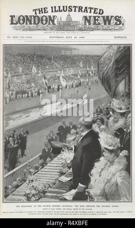 'The beginning of the fourth modern Olympiad : the King (Edward VII) opening the Olympic games. The Illustrated London News. London, July 18, 1908. Illustration. Newspaper report on the 1908 Olympic Games. The games of the IV Olympiad. Source: The Illustrated London News,vol.CCCIII,no.3613. Language: English. Author: COWPER, MAX. - Stock Photo