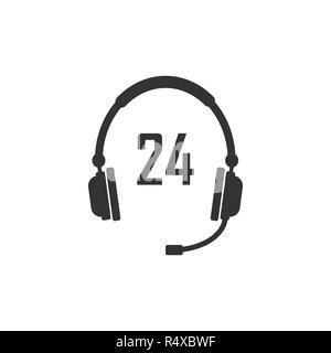 24 hour call center icon. Vector illustration, flat design. - Stock Photo