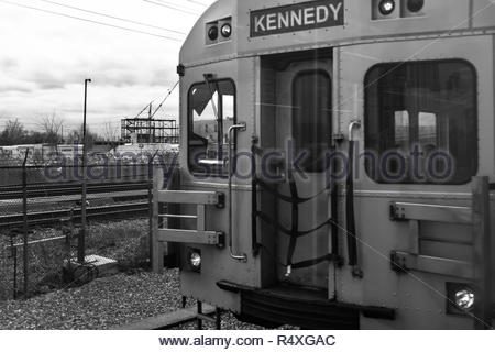 Toronto, Ontario, Canada-November 27, 2018: The front of a moving TTC subway train. The old Bombardier mode of transport in being replaced in phases a - Stock Photo