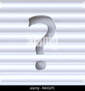 Cut out font in wave surface punctuation mark QUESTION MARK 3D - Stock Photo