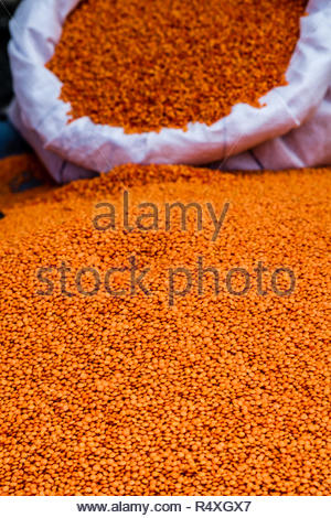 Organic food lentils in local market - Stock Photo
