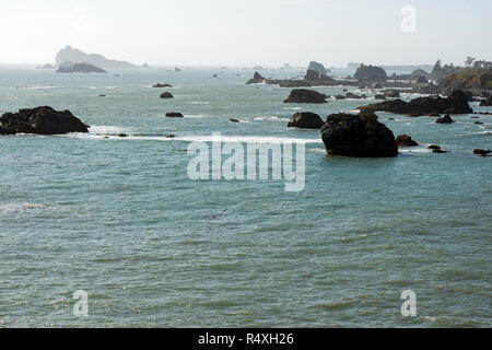 Rocky Outcroppings at Battery Point, California - Stock Photo