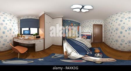 360 degrees house interior, 3D Render. - Stock Photo