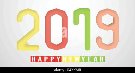 Happy New Year 2019 in material design concept on grey background. Vector illustration with colorful color in paper cut and digital craft style. - Stock Photo