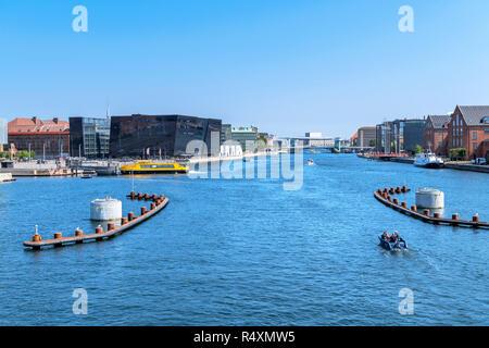 View from Langebro bridge down Københavns Havn towardsThe Black Diamond( Det Kongelige Bibliotek ), Copenhagen, Zealand, Denmark - Stock Photo