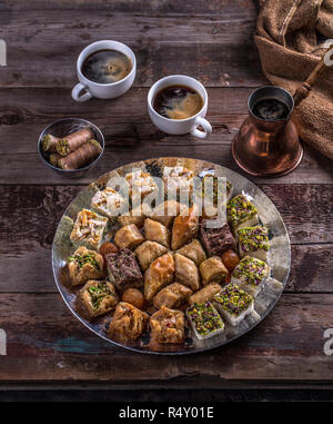 Coffee and Arabian baklava and delights, top view - Stock Photo