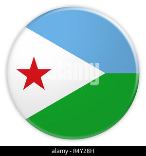 Djibouti Flag Button, News Concept Badge, 3d illustration on white background - Stock Photo