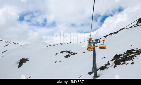 High altitude ski resort with spectacular views - Stock Photo