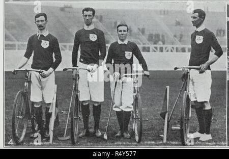 Hamilton Oswald. Alfred Oswald. R. McCreedy. O. Sealy. The Irish bicycle polo association win the cycle polo match. Illustrated Sporting & Dramatic News. 18th July 1908. Photograph from a newspaper on the 1908 Olympic Games in London. Source: Illustrated Sporting & Dramatic News, page 803 detail. Language: English. - Stock Photo