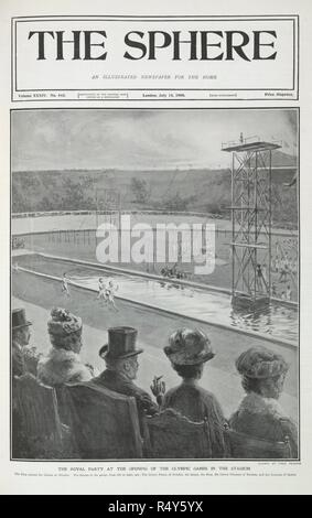 'The Royal party at the Olympic games in the stadium'. 'From left to right: The crown prince of Sweden; the Queen; the King (Edward VII) ; the crown princess of Sweden; and the Duchess of Sparta'. . The Sphere. London, July 18, 1908. Illustration. Athletes running; gymnasts, and a diving platform. The Games of the IV Olympiad. Source: The Sphere, volume XXXIV, no.443, front cover. Language: English. Author: Fred Pegram. - Stock Photo