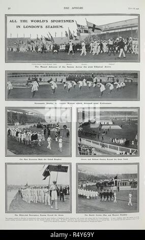 'All the World's sportsmen in London's stadium'. The opening ceremony at the stadium at Shepherd's Bush. Representations of some of the participating nations. A gymnastic display by Danish women. The Sphere. London, July 18, 1908. Newspaper report on the 1908 Olympic Games. The games of the IV Olympiad. Source: The Sphere, page 52. Language: English. - Stock Photo