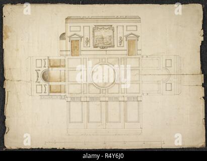 Floor plan for a large glasshouse or greenhouse at Wotton. Designs. . Wotton Greehouse by Mr Kene. England. From two designs in pen, ink and brown wash for the interior of an elaborate greenhouse at Wotton, endorsed by Sir John Evelyn, 1st Bart., `Wotton Greenhouse by Mr Kene'; [circa 1750-1760]. `Mr Kene' may be Henry Keene (1726-1776), though no work of his at Wotton is recorded in Howard Colvin's Biographical Dictionary of British Architects 1600-1840. Source: Add. 78610 P. Language: English. - Stock Photo
