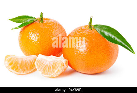 Tangerine or clementine with green leaf and slices isolated on white background - Stock Photo