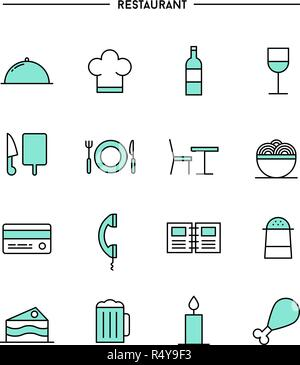 set of flat design, thin line restaurant icons - Stock Photo