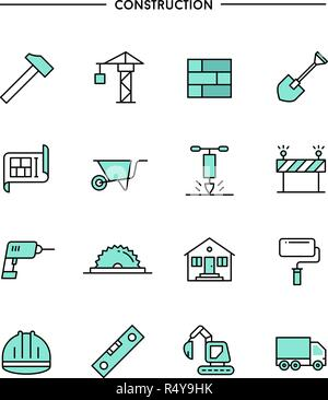 set of flat design, thin line construction icons - Stock Photo