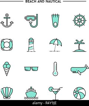 set of flat design, thin line beach and nautical icons - Stock Photo