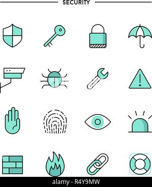 set of flat design, thin line security icons - Stock Photo