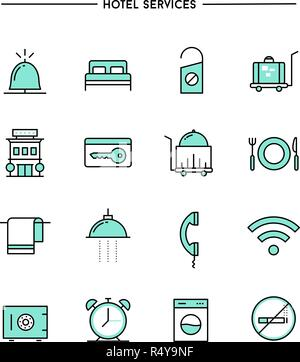 set of flat design, thin line hotel services icons - Stock Photo