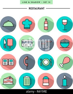 set of flat design,long shadow, thin line restaurant icons - Stock Photo